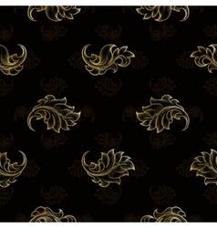 Gold vintage seamless floral pattern vector image