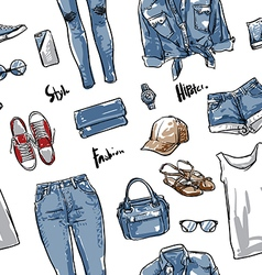 Lady fashion pattern including seamless vector image