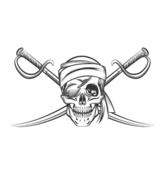 Pirate Skull and Two Crossing Swords vector image