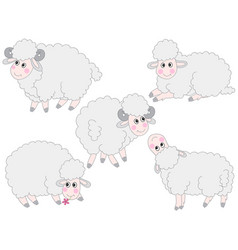 set of cute cartoon sheep vector image vector image
