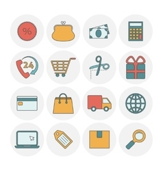 Shopping outine icons flat vector image vector image