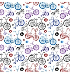 Seamless background with bicycles vector image vector image