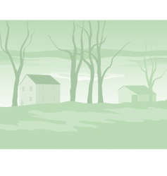 shaker village evening in winter vector image vector image