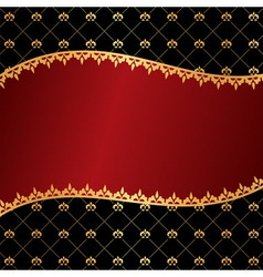 Vintage red background with wave frame of golden e vector image vector image