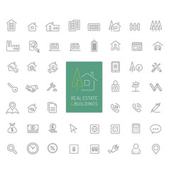50 real estate and buildings thin line icons vector