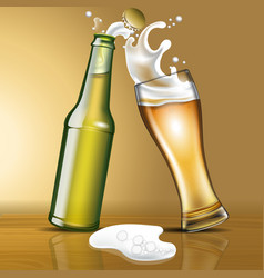 A bottle beer and a glass in motion vector