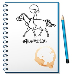 A notebook with a drawing of a girl riding a horse vector image