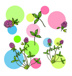 abstract background with red clover leaves and vector image