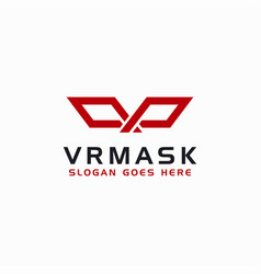 abstract letter vr for virtual reality mask logo vector image