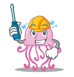 automotive cute jellyfish character cartoon vector image