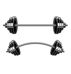 barbell engraving style design element for logo vector image