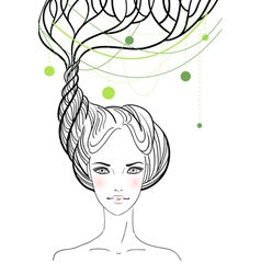 Beautiful girl with tree in her hair vector image