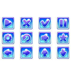 blue square collection set glass buttons vector image