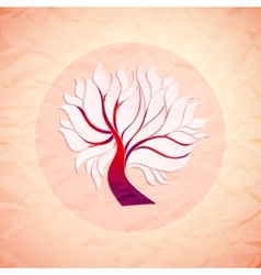 Bright colorful tree from paper retro style vector