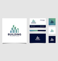 Building logo design with business card design vector