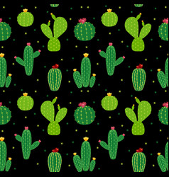 Cactus icon collection seamless pattern background vector
