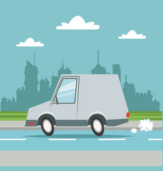 car van transport city background vector image