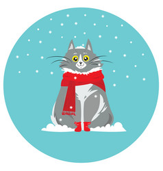 cartoon portrait of a smiling cat in the snow vector image