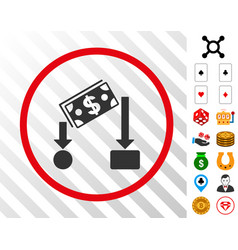 Cash flow rounded icon with bonus vector