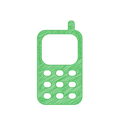 Cell phone sign green scribble icon with solid vector
