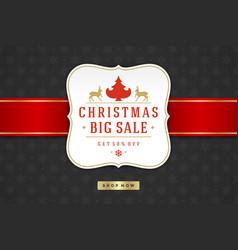 Christmas sale label design on pattern background vector