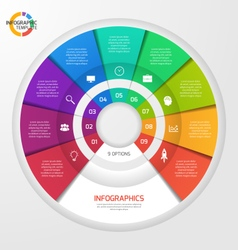 Circle infographic template 9 options vector