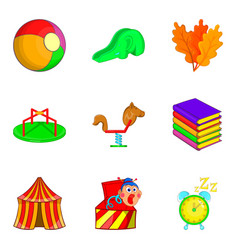 Circus arena icons set cartoon style vector