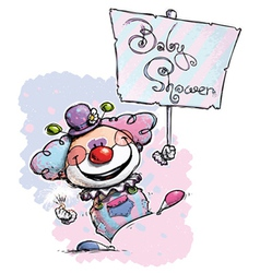 Clown Hoding a Baby Shower Plackard vector
