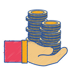 Coins cash currency in the hand vector