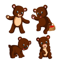 collection of the little bear carry the basket vector image