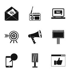 Contextual advertising icons set simple style vector