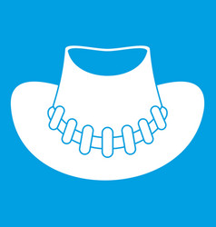 cowboy hat icon white vector image