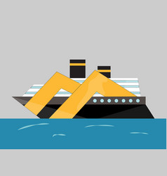 cryise liner icon ship at sea transport vector image