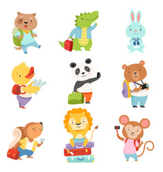Cute cartoon animals traveling on summer vacation vector
