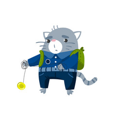cute funny little cat student playing yoyo toy vector image vector image