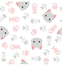 Cute kitten seamless pattern cat lover theme vector