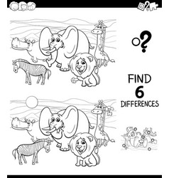 differences color book with wild animal characters vector image