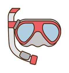 diving mask tube sea beach vector image