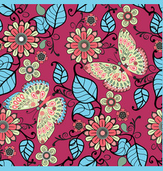 ecorative pattern with floral ornament and vector image