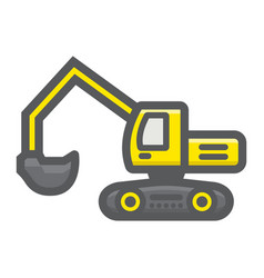 excavator filled outline icon transport vehicle vector image