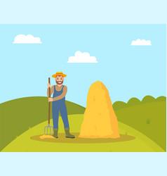 Farming person and hay bale vector