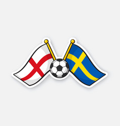 Flags england versus sweden with soccer ball vector