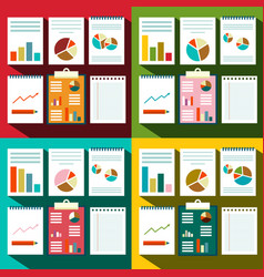 flat design paperwork background with graphs and vector image