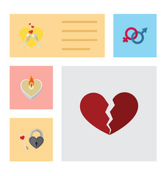 flat icon passion set of divorce sexuality symbol vector image