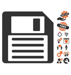 Floppy icon with dating bonus vector