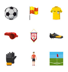 Football game icons set cartoon style vector