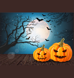 halloween pumpkins card with full moon and bats vector image
