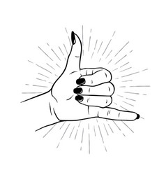 Hand drawn female hand in shaka sign gesture vector