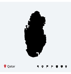 High detailed map of Qatar with navigation pins vector