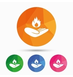 Insurance against fire Hand holds fire flame vector image